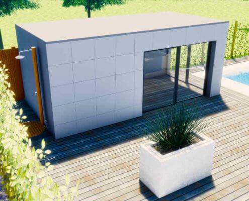 Een modern poolhouse met buitendouche