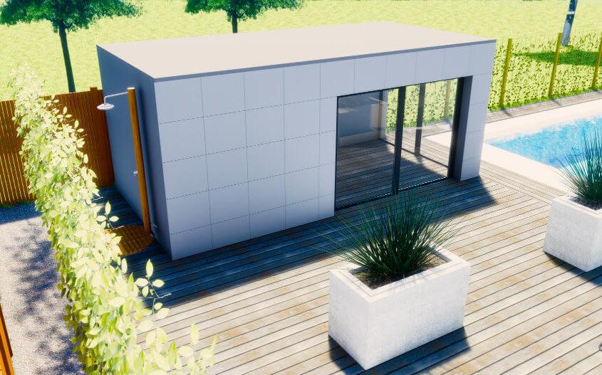 modern poolhouse met buitendouche