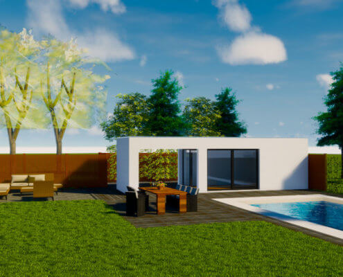 poolhouse met veranda