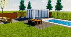 Modern poolhouse