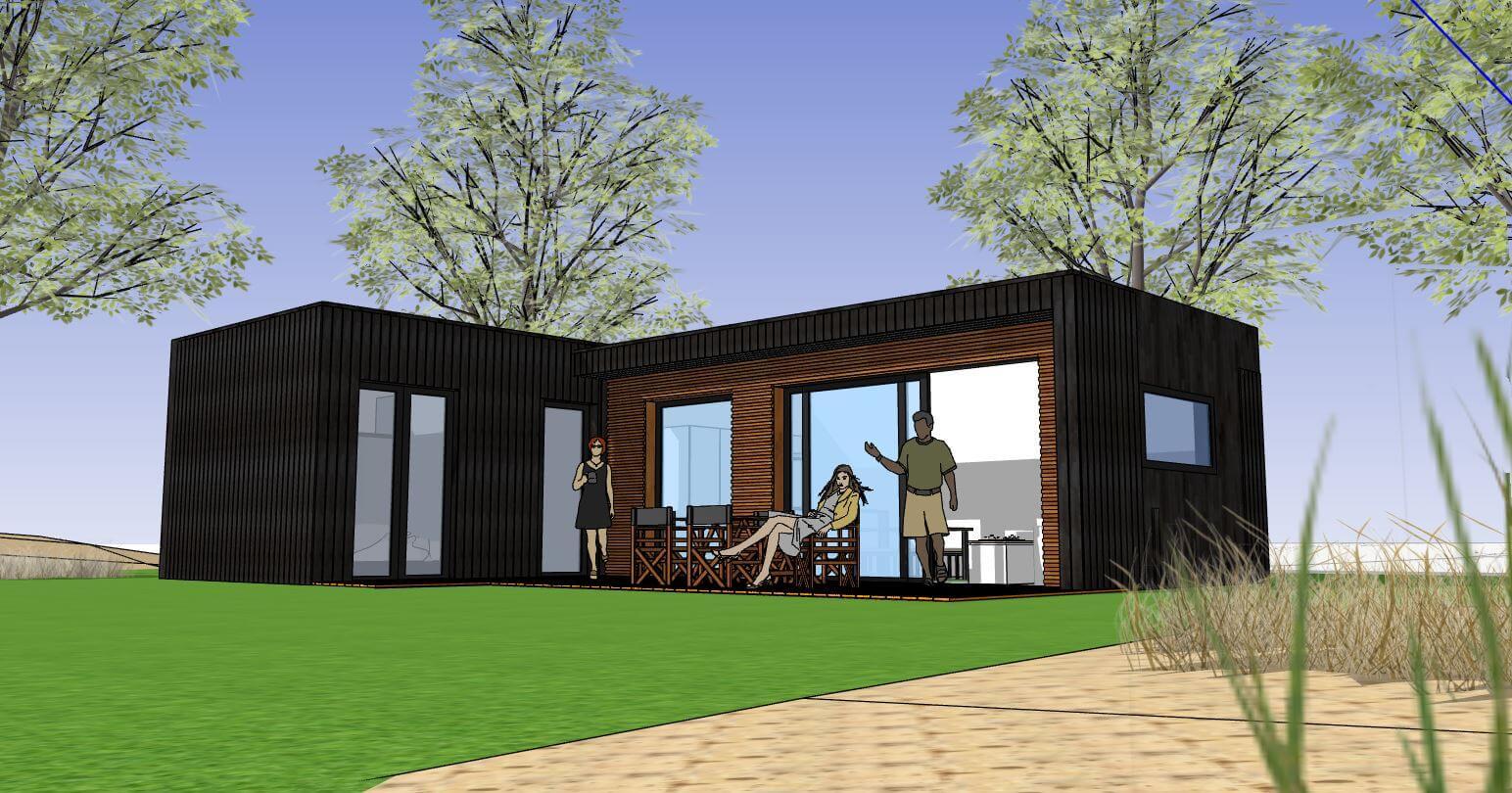 Moderne bungalow met zwart hout